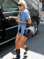 Lindsay Lohan busty  leggy wearing wide open shirt  shorts out in Beverly Hills from Kendra Exposed