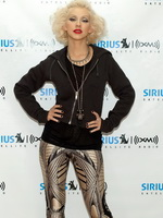 Christina Aguilera leggy wearing tights  high heels in SIRIUS XM Studio in NYC from CelebMatrix