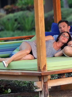 Megan Fox flashing her panties in Hawaii with a lucky dickhead all over her from CelebMatrix