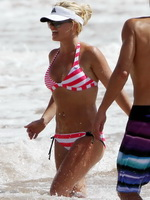 Britney Spears wearing sexy redwhite bikini on the beach in Maui from CelebMatrix