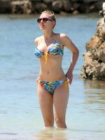 Scarlett Johansson busty wearing bikini on the beach in Jamaica from CelebMatrix