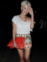 Helen Flanagan leggy wearing mini skirt outside Panacea Restaurant in Manchester from CelebMatrix