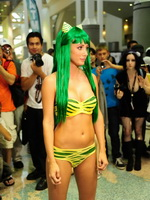 Sara Jean Underwood wearing skipy outfit at the Anime Expo in LA from CelebMatrix