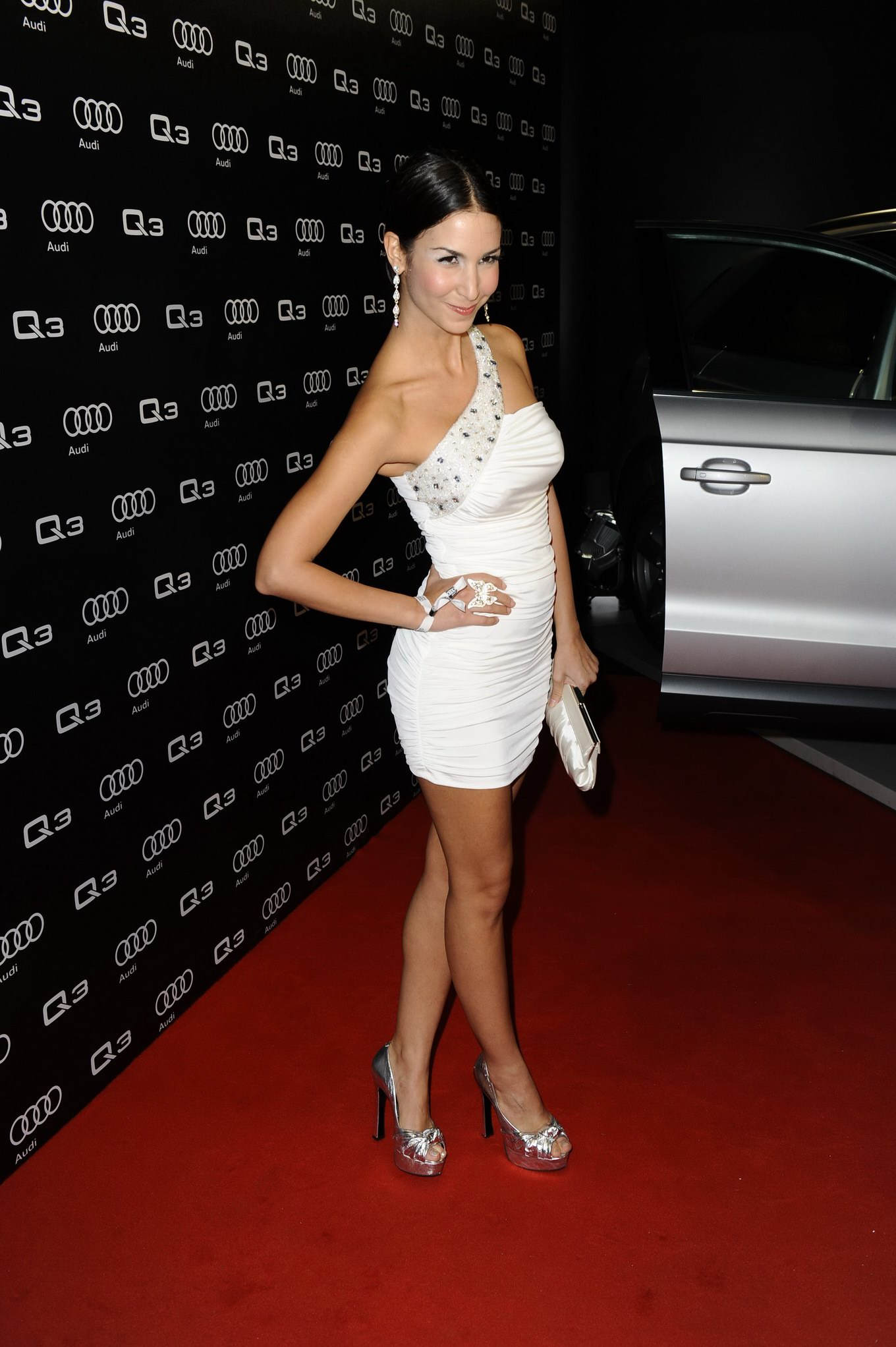 Sila Sahin upskirt at the Audi Q3 presentation in Berlin