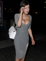 Helen Flanagan busty wearing low cut dress out in Manchester from CelebMatrix