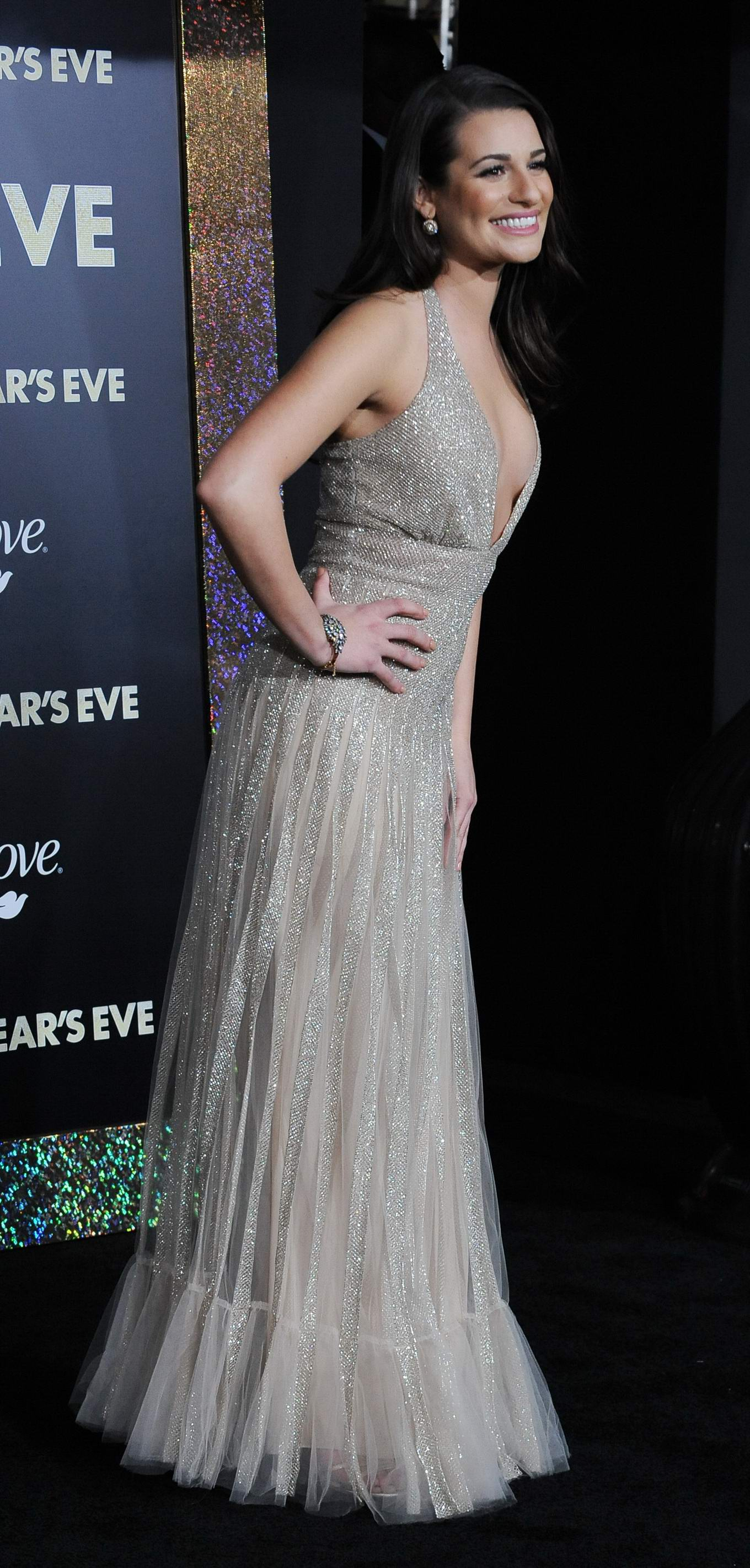 Lea Michele braless showing side boob at the 'New Year's Eve' premiere in LA