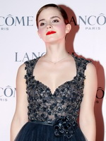 Emma Watson looks very sexy wearing little bareback dress at Lancome promotion in Hong Kong from CelebMatrix