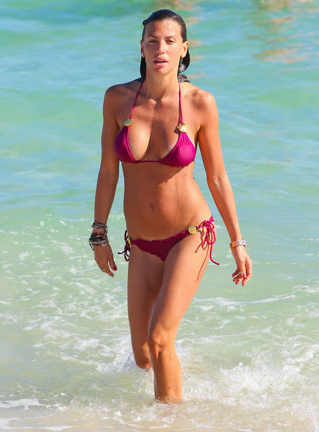 Claudia Galanti Wearing Skimpy Pink Bikini On A Beach In Miami-4339