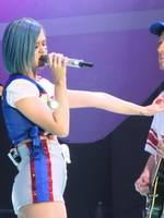 Katy Perry in shorts  socks performing at DirecTV's Super Saturday Night Concert in Indianapolis from CelebMatrix