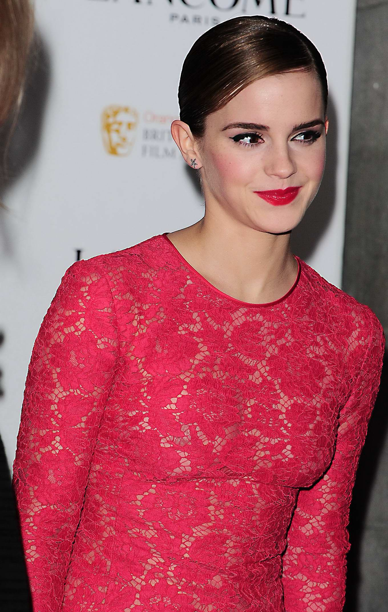 Emma Watson Braless Wearing Red See Through Lace Dress At Pre Bafta
