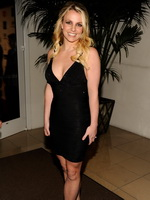 Britney Spears braless wearing sexy black dress at Clive Davis and the Recording Academy's 2012 Pre-GRAMMY Gala from CelebMatrix