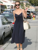 Jennifer Love Hewitt busty  braless wearing a slightly see-through dress out in Malibu from CelebMatrix