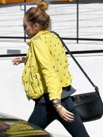 Miley Cyrus braless showing sideboob while shopping in Calabasas from CelebMatrix