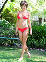 Lisa Rinna showing off her bikini body for Albert Michael photoshoot from CelebMatrix