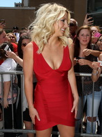 Britney Spears busty  braless wearing a tight red mini dress at the X Factor auditions in Rhode Island from CelebMatrix