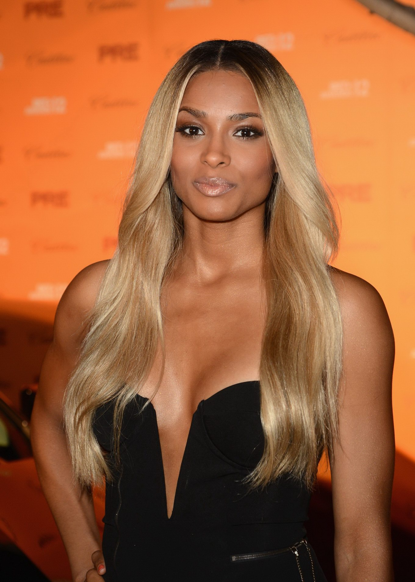Ciara Leggy Amp Cleavy Wearing A Strapless High Slit Dress