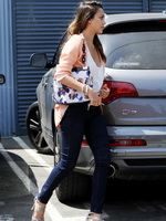 Jessica Alba shows cleavage wearing a low cut top out in Culver City from CelebMatrix