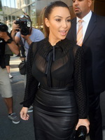 Kim Kardashian busty in see through shirt  bra promoting the Kardashian Kollection at SEARS anniversary in NY from CelebMatrix