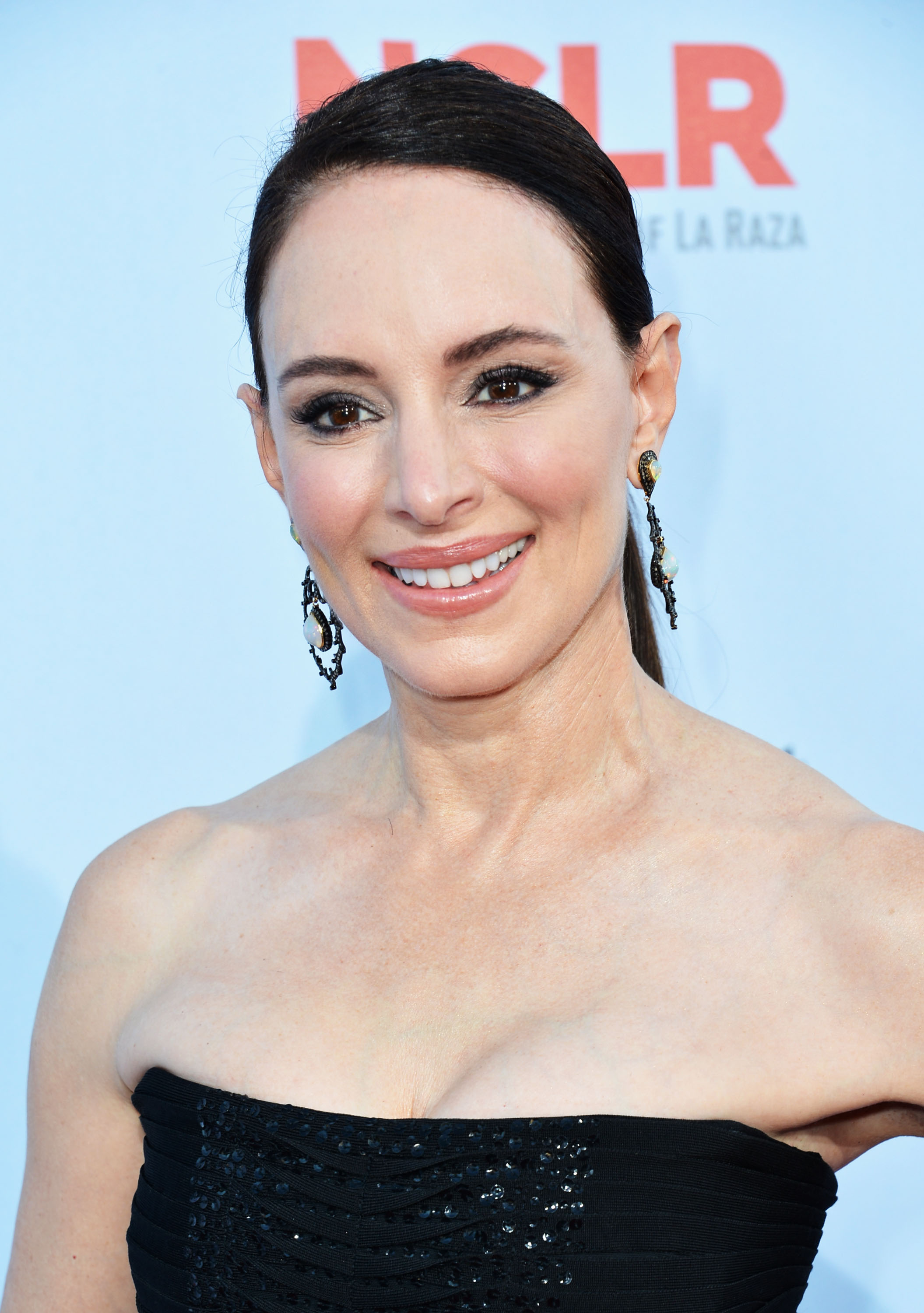 Madeleine Stowe Busty Wearing A Strapless Black Dress At Nclr