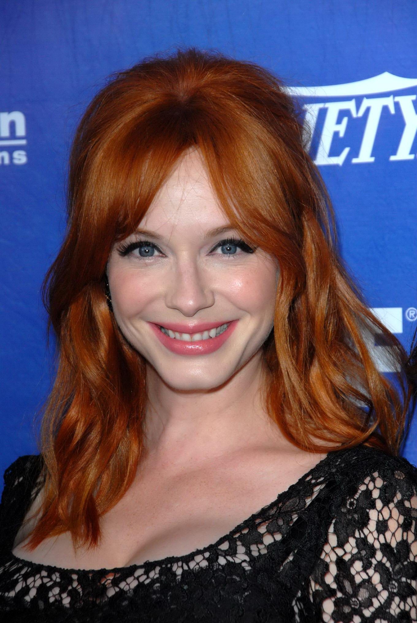 Christina Hendricks Shows Cleavage Wearing A Black Lace -1883