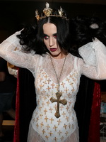 Katy Perry busty dressed as cocksucking vampire for her birthday bash at The Magic Castle in LA from CelebMatrix