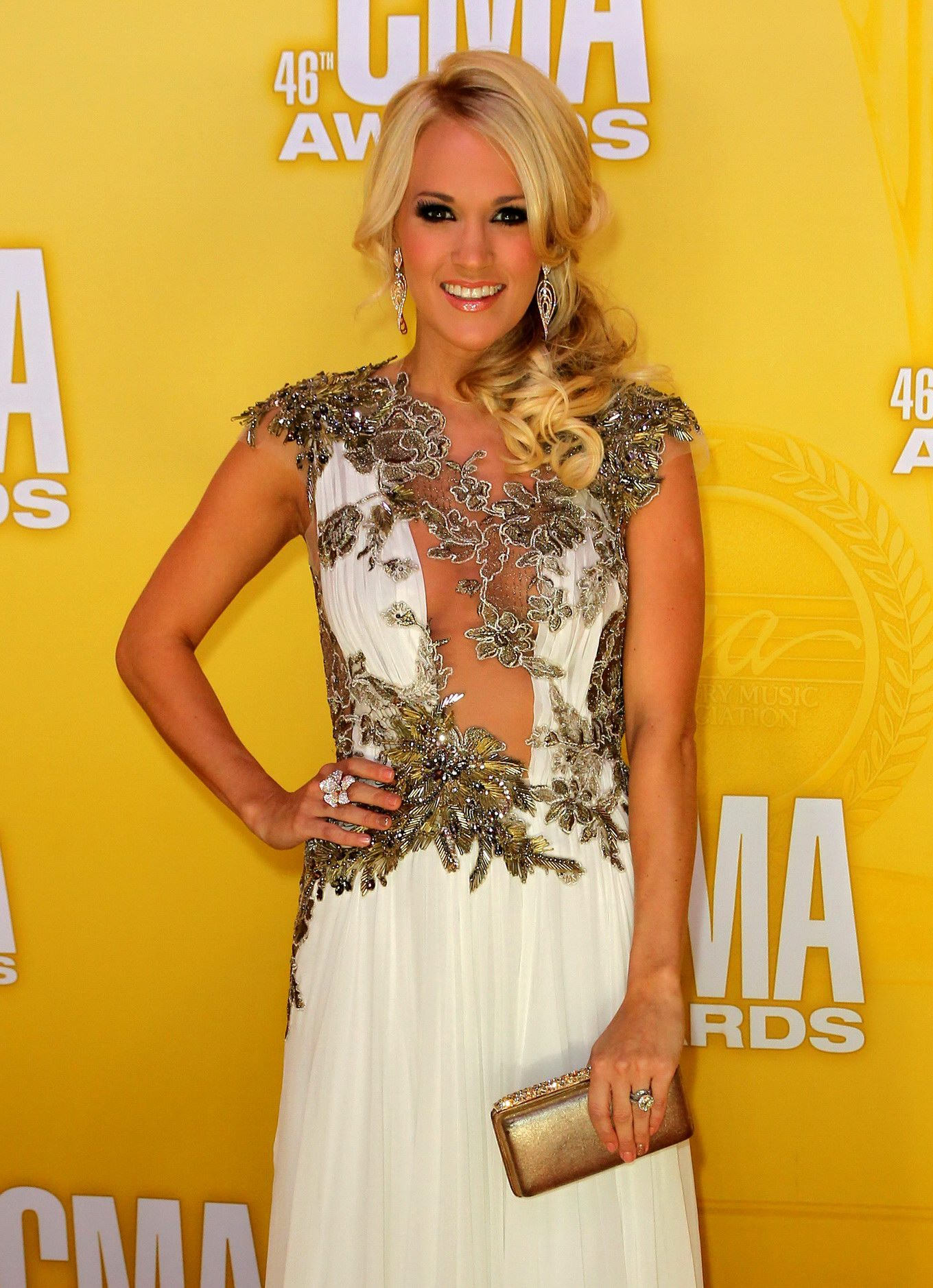 Carrie Underwood Braless Wearing A Partially See Through