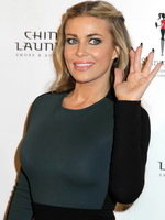 Carmen Electra busty wearing a tight slightly see through dress  pasties at Chinese Laundry launch party in NYC from CelebMatrix