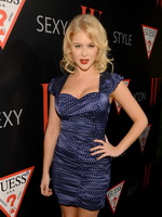 Renee Olstead busty wearing a polka dot mini dress at W Mag  Guess 30 Years Of Fashion  Film event in West Hollywood from CelebMatrix