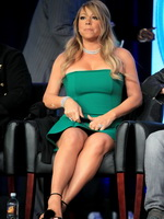Mariah Carey busty  upskirt at the 'American Idol' panel during 2013 Winter TCA Tour from CelebMatrix