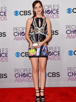 Emma Watson leggy wearing a skimpy little dress at the People's Choice Awards from CelebMatrix