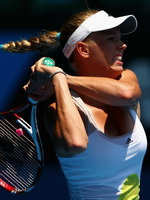 Caroline Wozniacki showing sweaty cleavage  camelote at the 2013 Australian Open in Melbourne from CelebMatrix