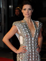 Jaimie Alexander leggy wearing a skimpy little dress at 'The Last Stand' premiere in London from CelebMatrix