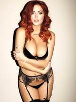 Lucy Collett showing off her melons in Nuts' lingerie photoshoot from CelebMatrix