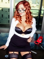 Lucy Collett showing off her big boobs in Nuts' 'Sexy Secretary' photoshoot from CelebMatrix