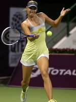 Maria Sharapova upskirt at WTA Qatar Open tennis tournament in Doha from CelebMatrix