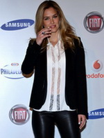 Bar Refaeli wearing leather pants  see through to bra shirt at Sanremo photocall from CelebMatrix