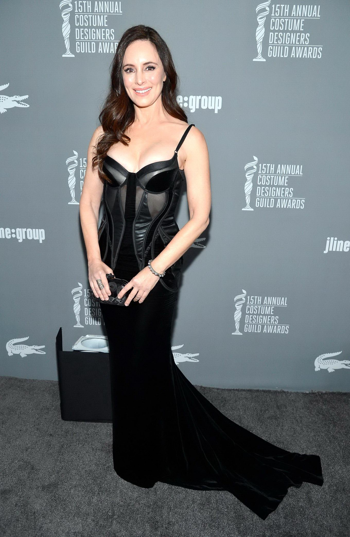 Madeleine Stowe Busty Wearing A Low Cut Black Dress At Th Costume