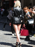Taylor Momsen leggy  cleavy wearing a skimpy leather outfit on the set of a music video in NYC from CelebMatrix