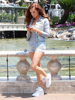 Kayla Collins shows off her ass  leggs wearing a denim shorts at The Grove in West Hollywood from Vivid Celeb