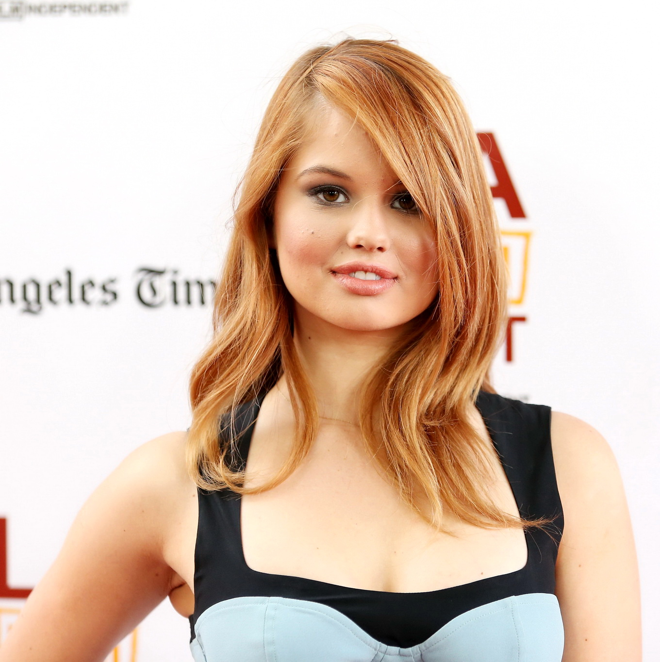 debby ryan busty wearing a low cut dress at the way way back