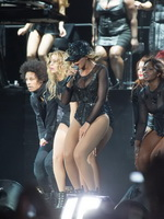 Beyonce Knowles wearing fishnets  various sexy bodysuits on stage at the Budweiser 'Made in America' festival in Philadelphia from CelebMatrix