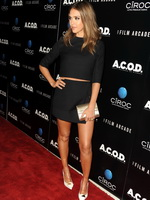 Jessica Alba leggy wearing a black mini skirt at the 'A.C.O.D.' premiere in LA from CelebMatrix