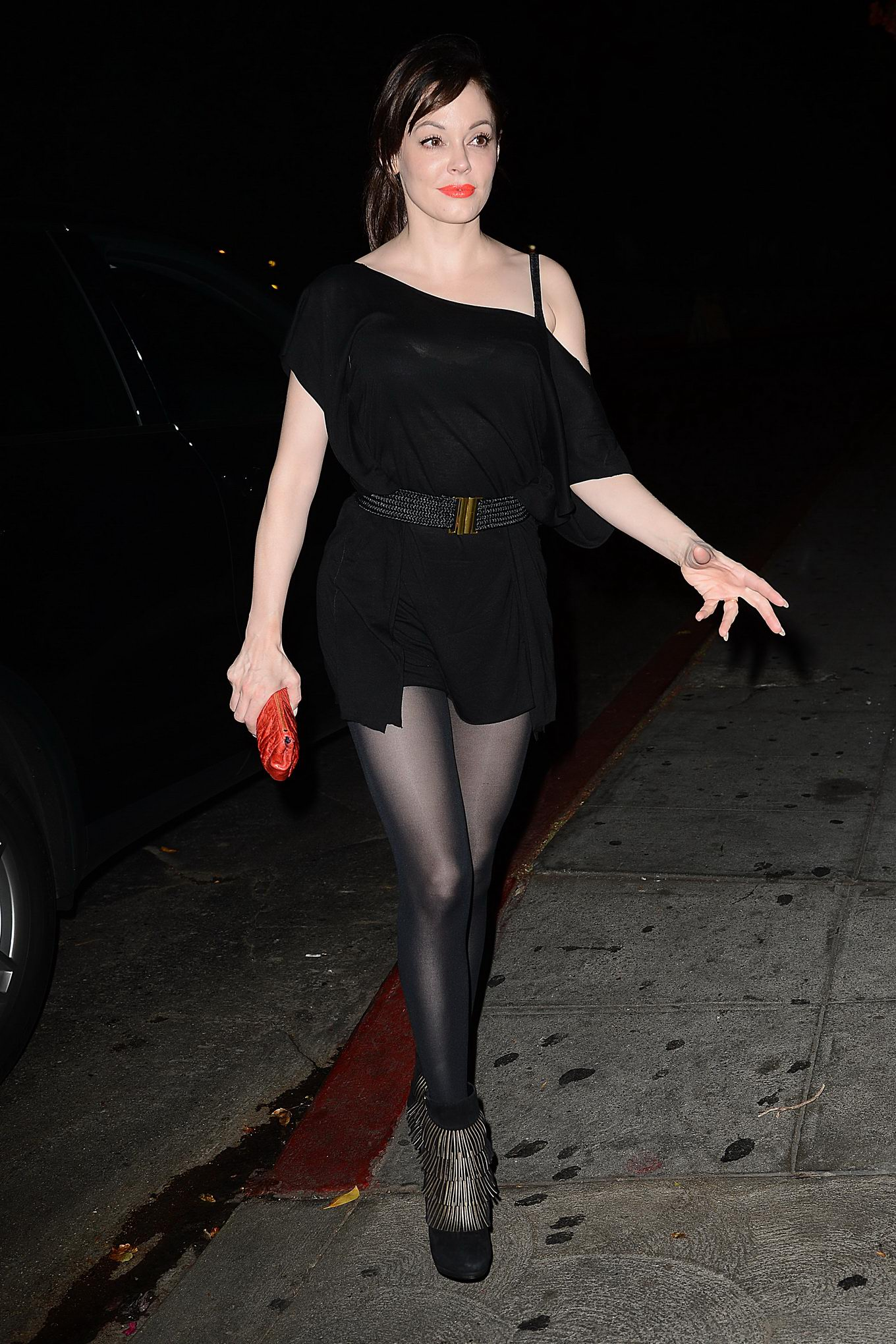 Rose Mcgowan Leggy See Through To Bra Outside Chateau Marmont In La