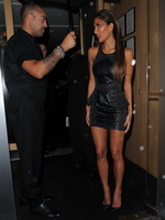 Nicole Scherzinger leggy wearing a leather mini skirt outside Nobu Berkeley in Mayfair from Celebs Dungeon