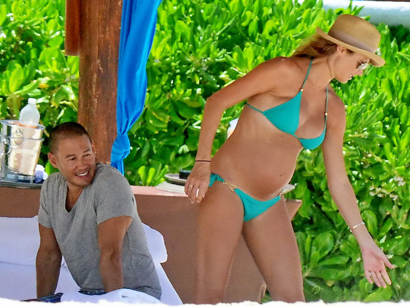 stacy keibler pregnant wearing a turquoise bikini in mexico