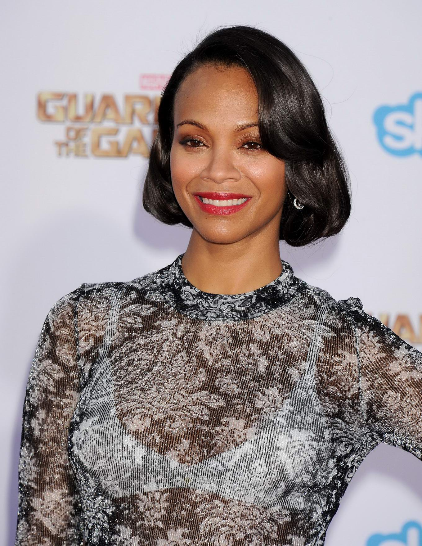 zoe saldana see through to white bra at the marvel s guardians of the