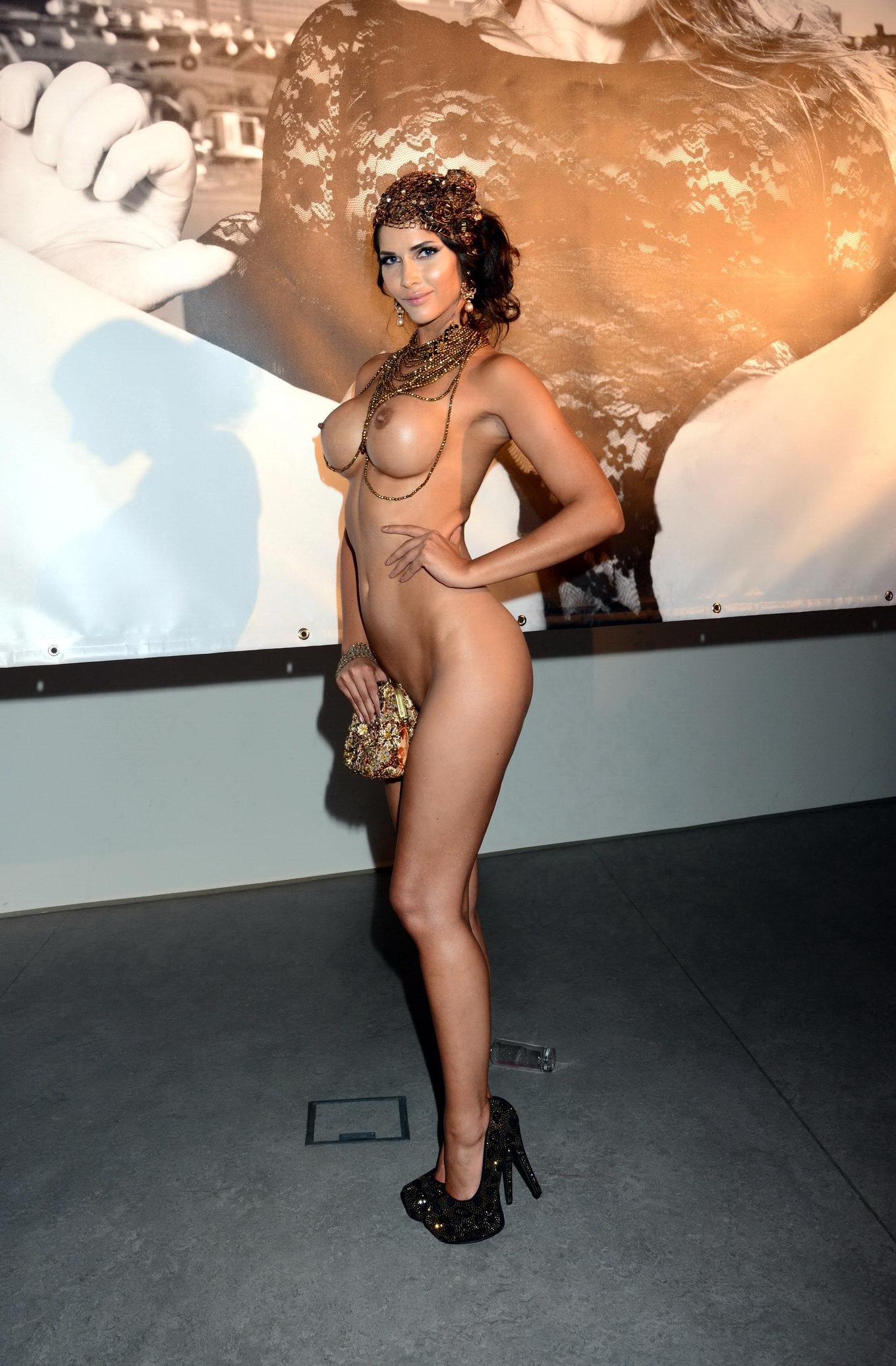 Micaela Schafer Fully Nude But Hiding Her Pussy At The Photo Exhibition -1286