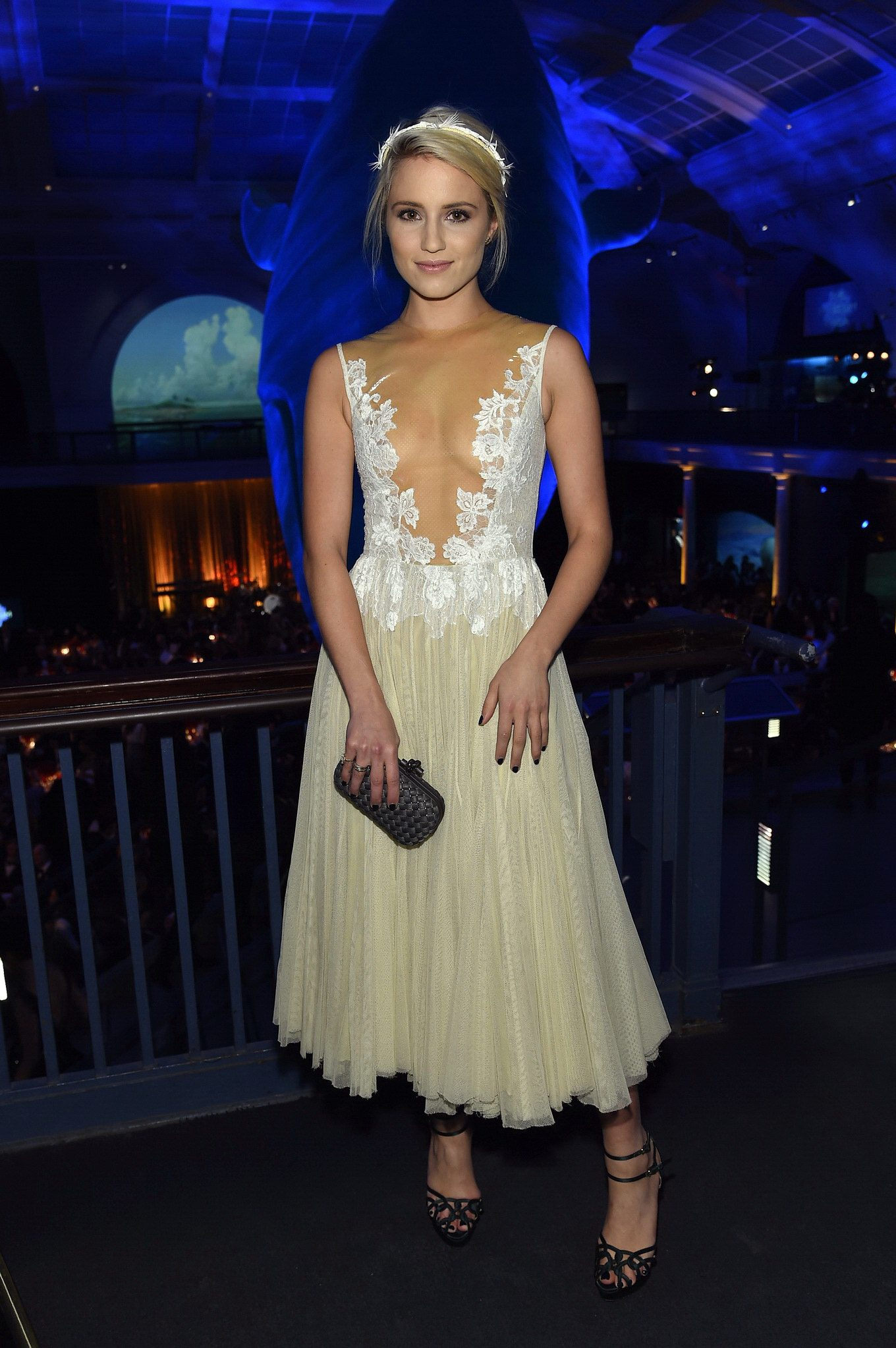 dianna agron braless wearing a partially see through dress