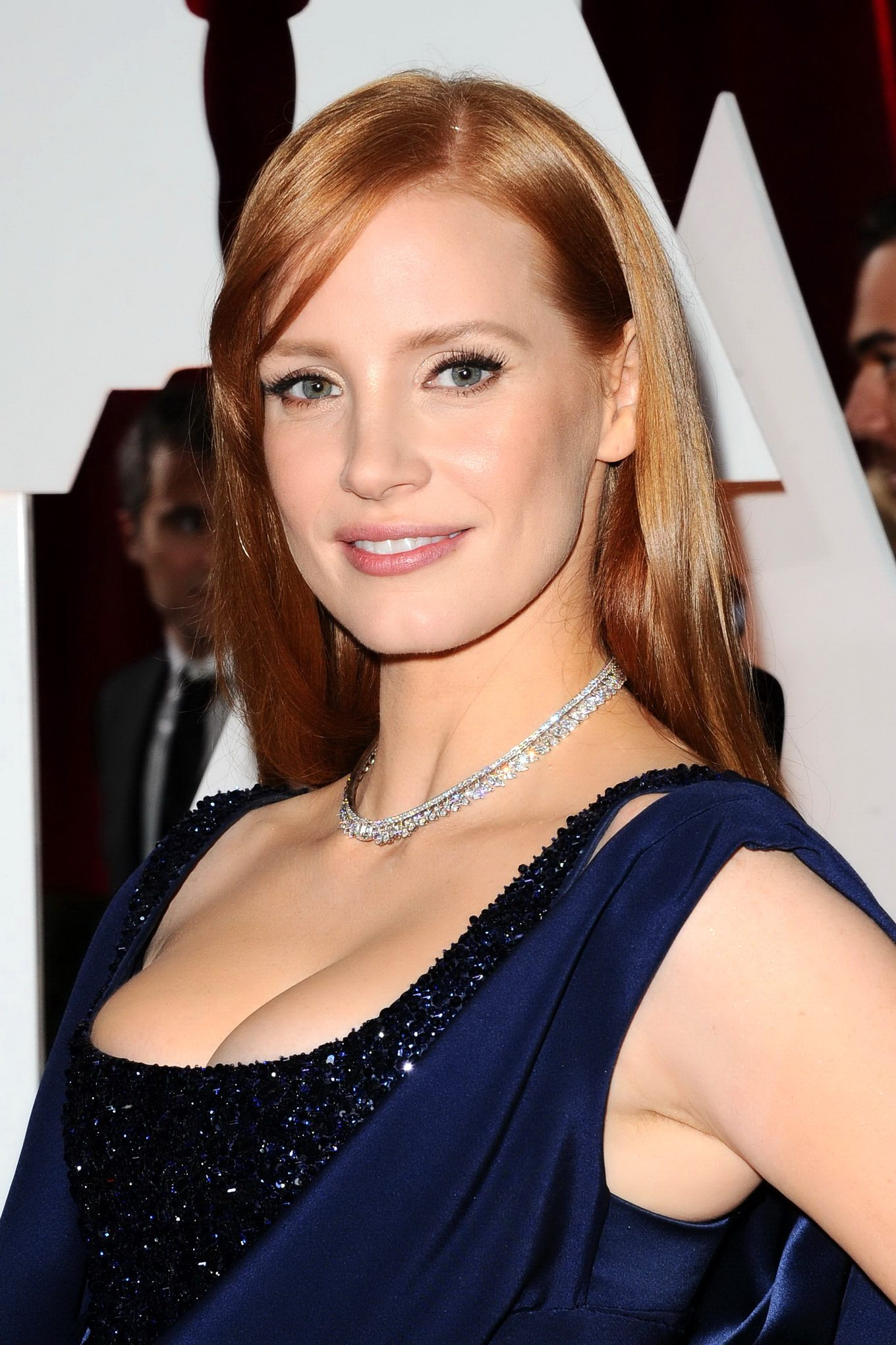 Jessica Chastain busty wearing a low cut dress at the 87th Annual ...