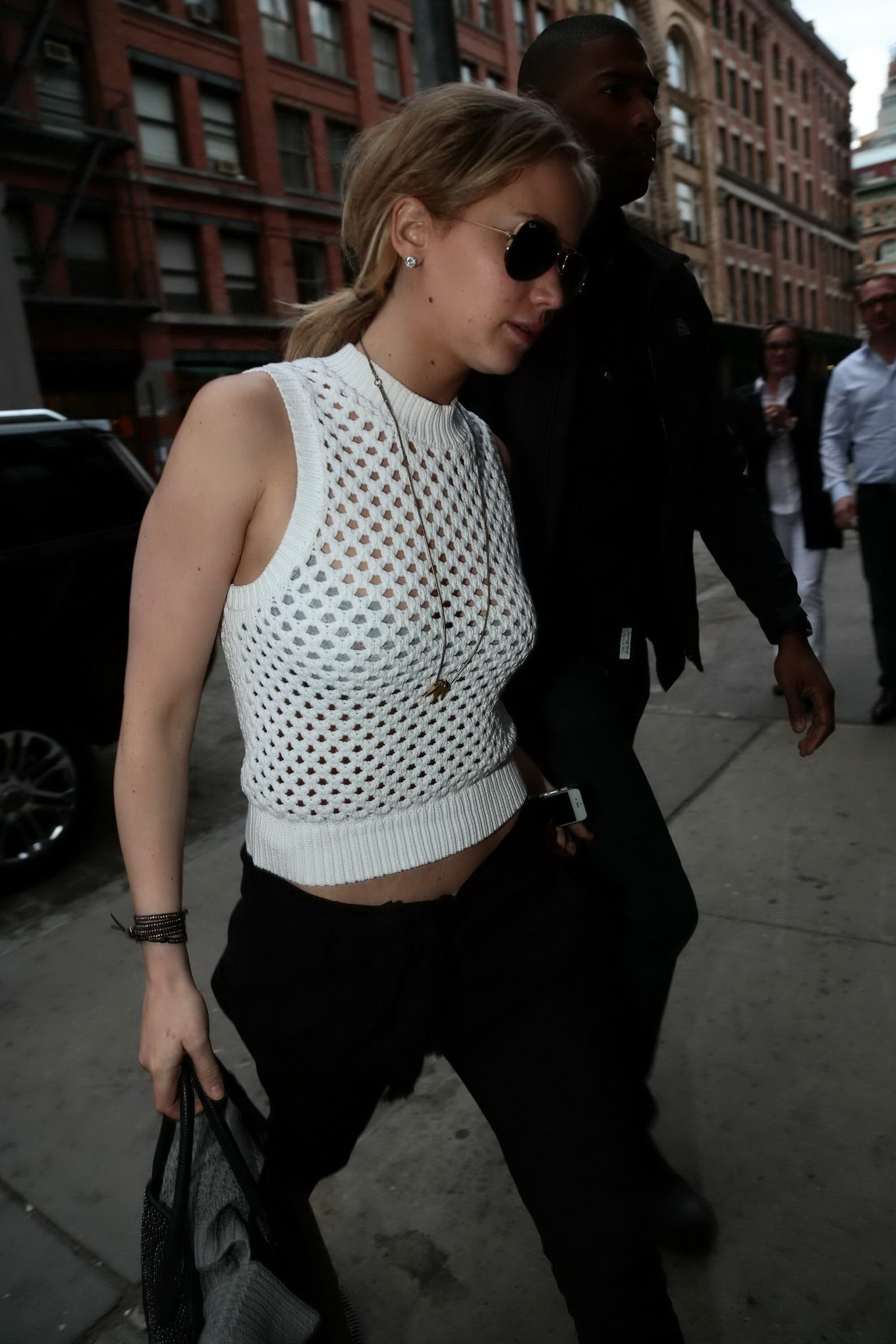 Busty Jennifer Lawrence see through to bra out in NYC